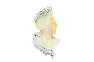 """Queen"" Opal and Diamond Cameo Pendant"