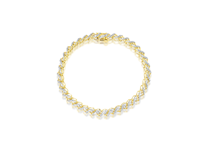 Round Brilliant & Melee Diamond Tennis Bracelet