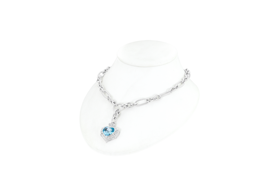 Judith Ripka Blue Topaz Heart Necklace