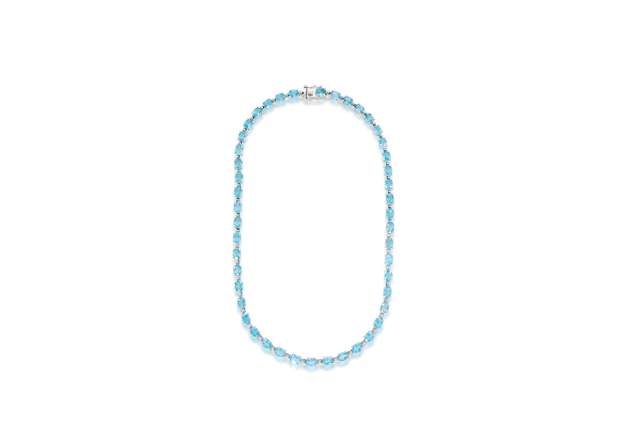 Oval Blue Topaz Fashion Necklace