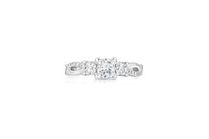 3-Stone Princess and Melee Diamond Engagement Ring