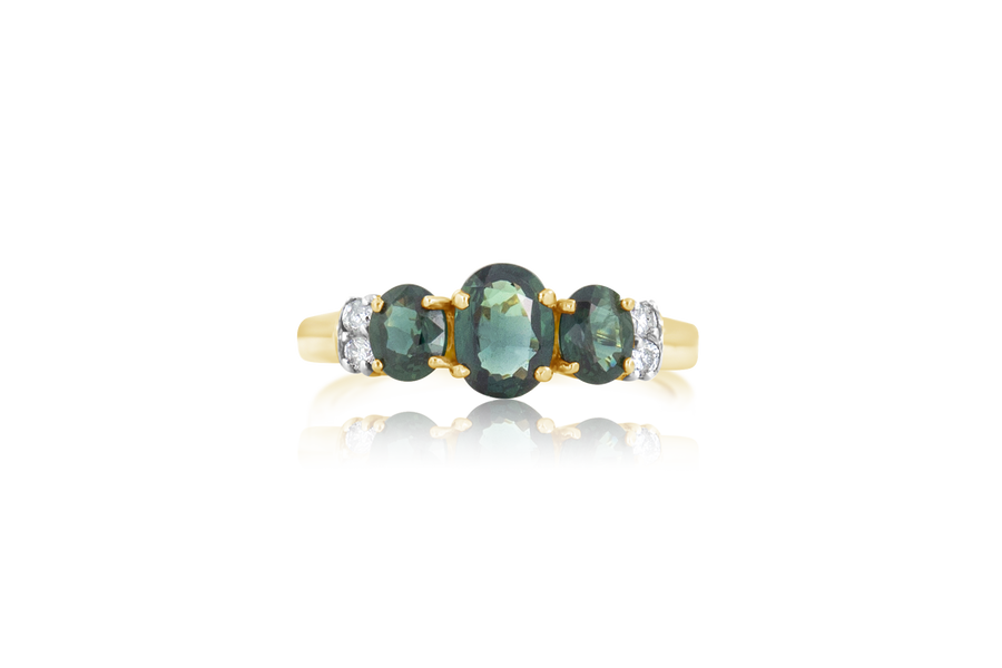 3-Stone Teal Sapphire and Diamond Ring