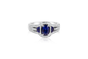 Oval and Half Moon Sapphire Ring