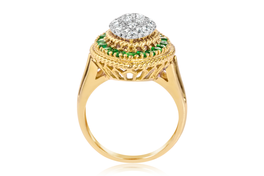 Emerald Halo and Diamond Cocktail Ring