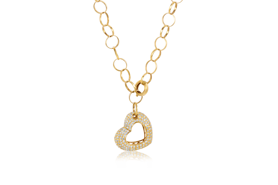 Pave Heart Diamond with Circle Link Chain