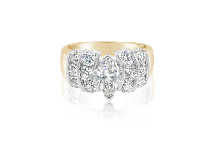 Marquise and Round Brilliant Diamond Ring