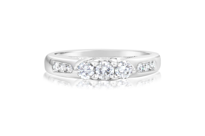 .40-CTTW. 3-Stone Round Diamond Engagement Ring