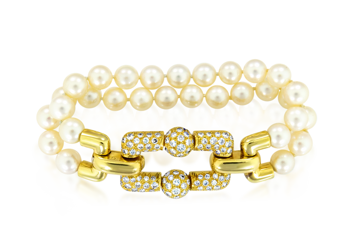 Double Strand Pearl & Diamond Bracelet