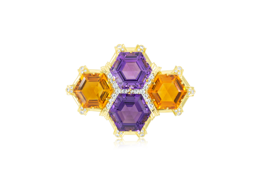 Hammerman Brothers Gemstone Brooch