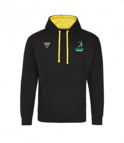 Huncote Harriers Unisex Contrast Hoodie (Black/Yellow)