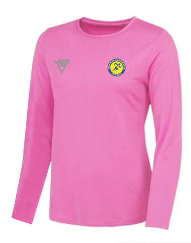 Danum Harriers Ladies Electric Pink Long Sleeve T-Shirt