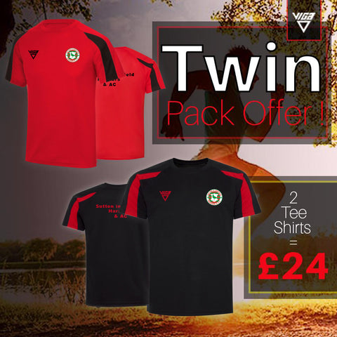 Sutton In Ashfield Contrast T-Shirt Twin Pack Offer !  (Unisex sizes) Great Price !
