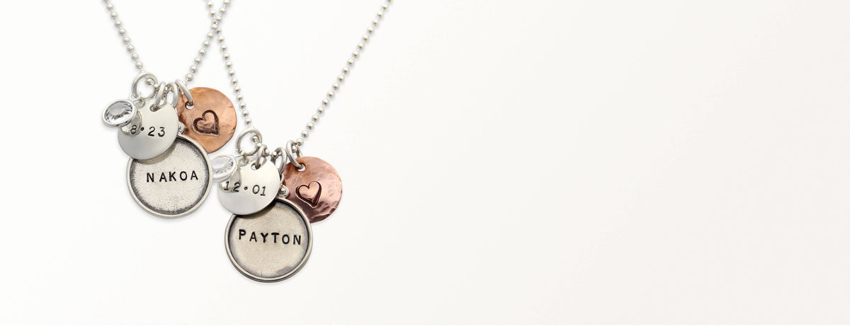 personalized hand stamped name jewelry mothers necklace