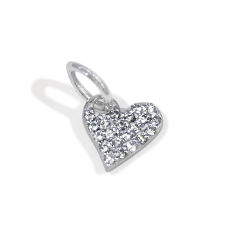 silver pavé heart charm, silver heart pendant, design your own charm necklace, personalized jewelry