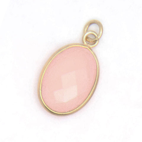 Rose Quartz Gemstone Charm, Gold Rim, jenny present®