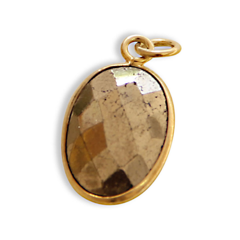 Pyrite Gemstone Charm, Gold Rim, jenny present®, design your own jewelry