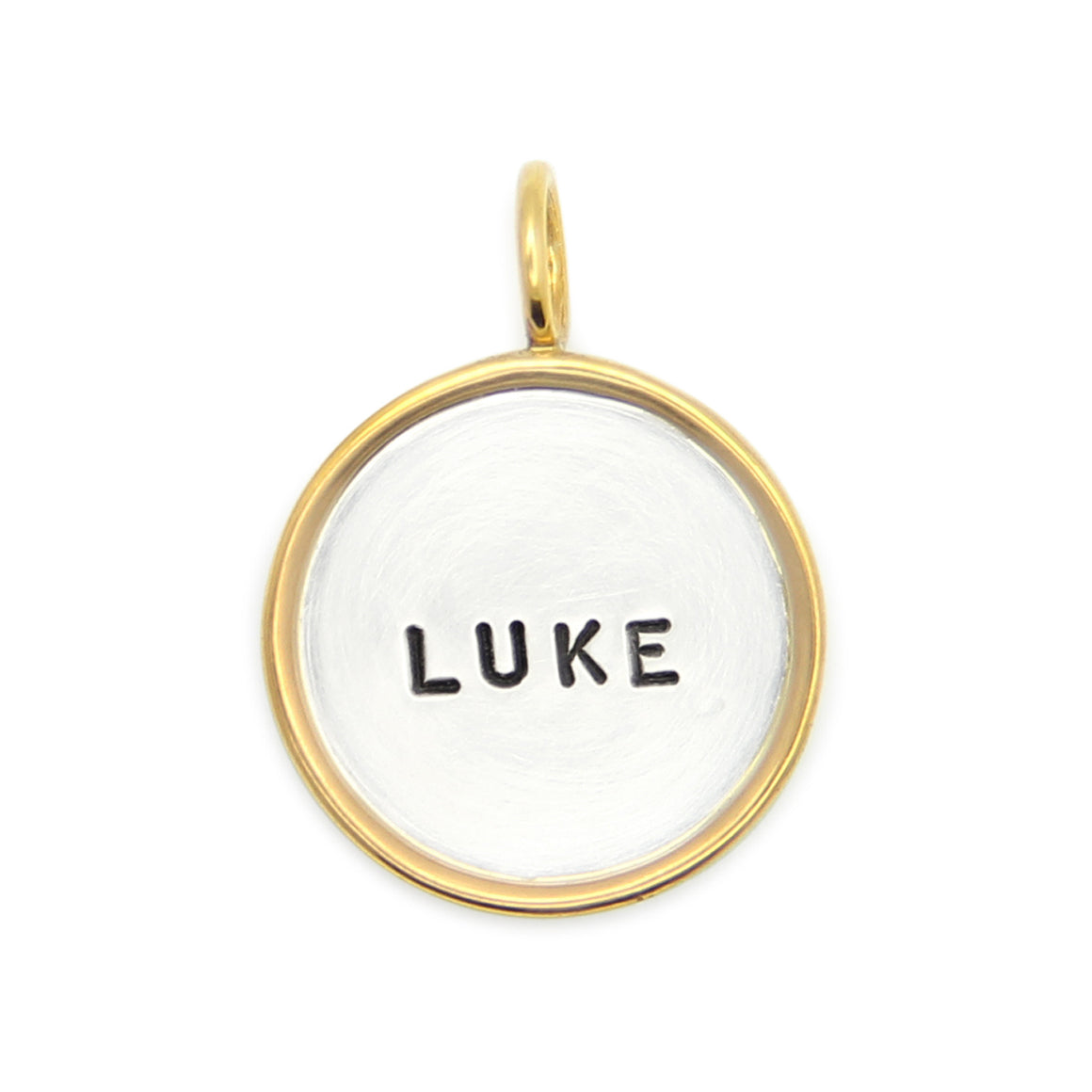 14kt gold rimmed hand stamped personalized name charm