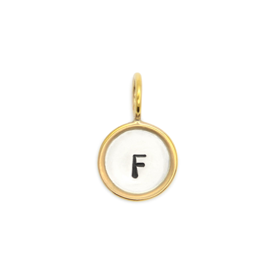 14kt gold rimmed initial charm, hand stamped sterling silver, jenny present®