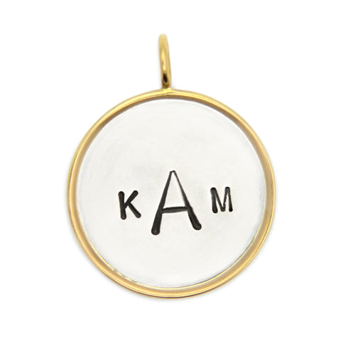 personalized hand stamped monogram pendant, sterling silver with 14kt gold rim and bail