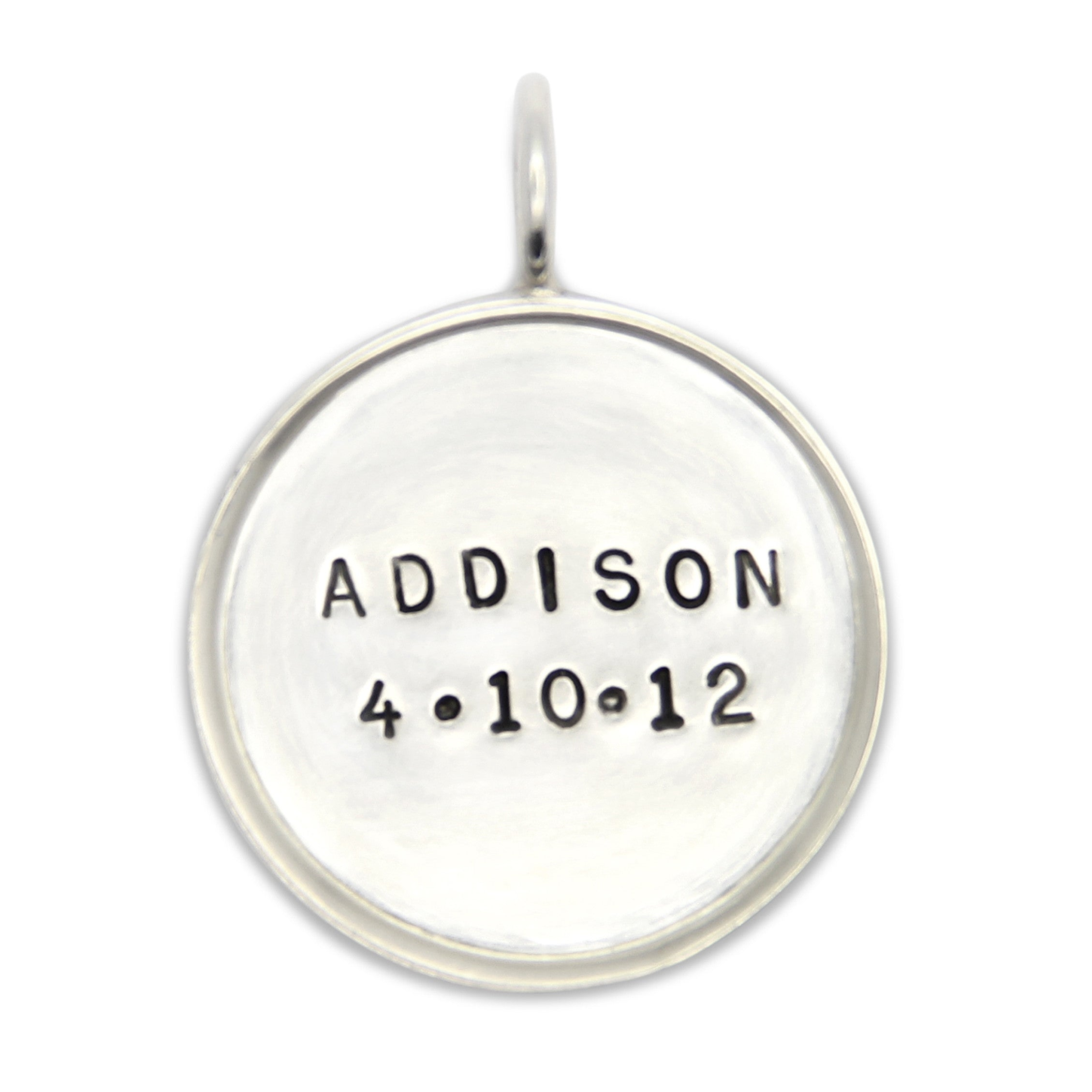 Hand stamped sterling silver pendant with rim personalized name tag hand stamped sterling silver name pendant personalized jewelry aloadofball Gallery