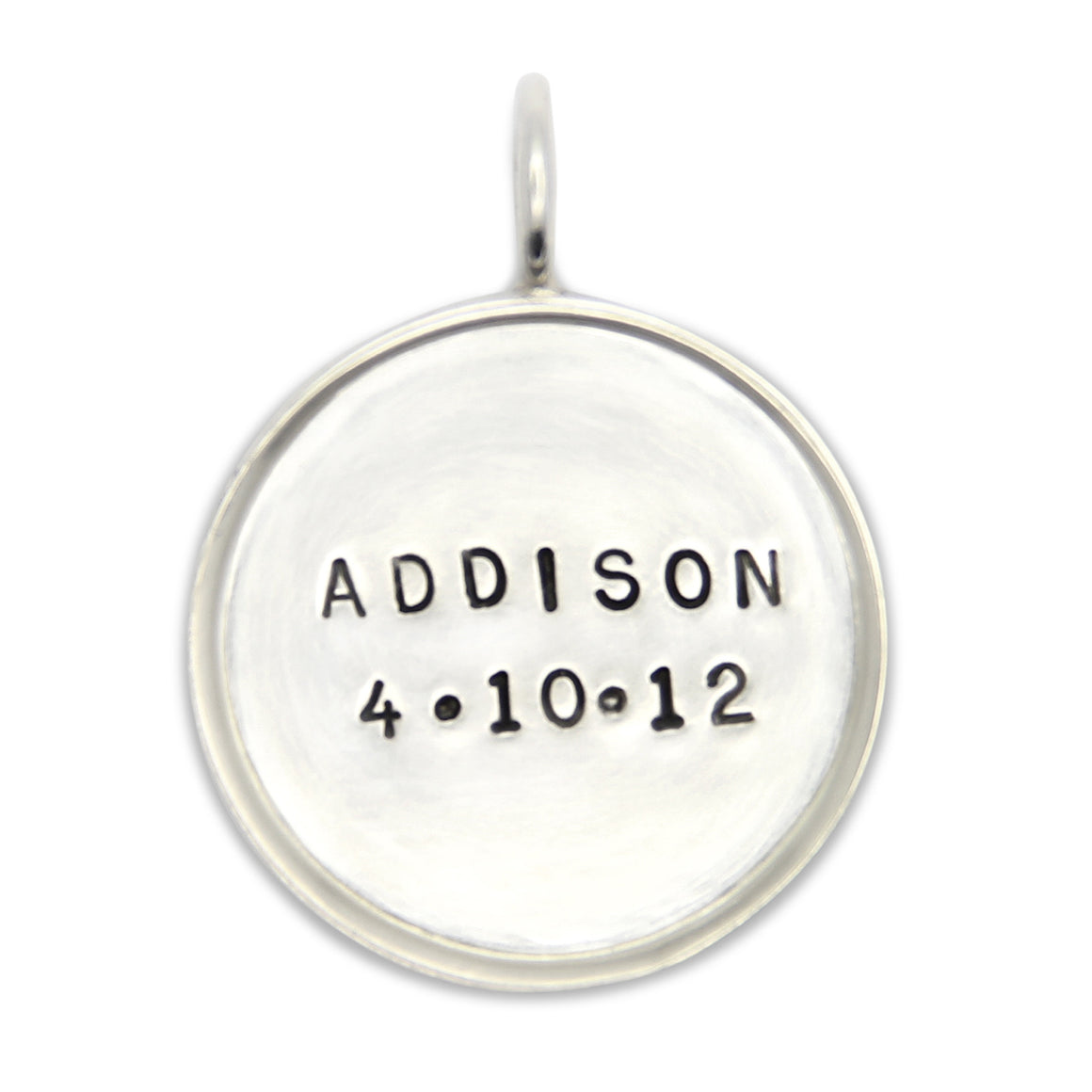 hand stamped sterling silver name pendant, personalized jewelry