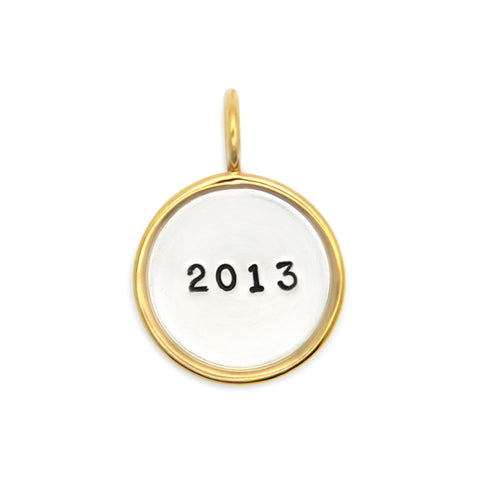 Hand Stamped Personalized Name Pendant with 14kt Gold Rim, Custom Jewelry