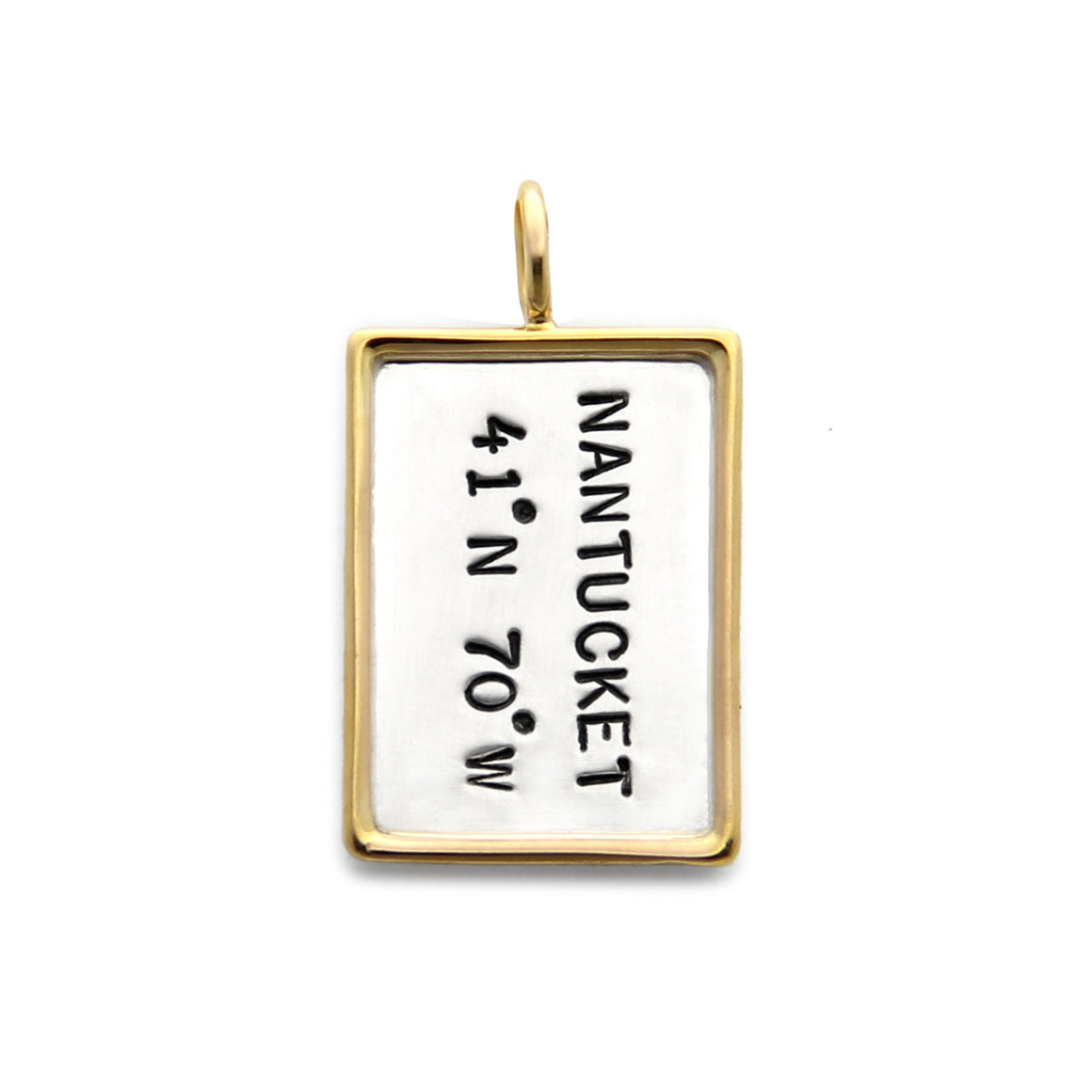 14kt gold rimmed dog tag, hand stamped silver pendant, jenny present® jewelry