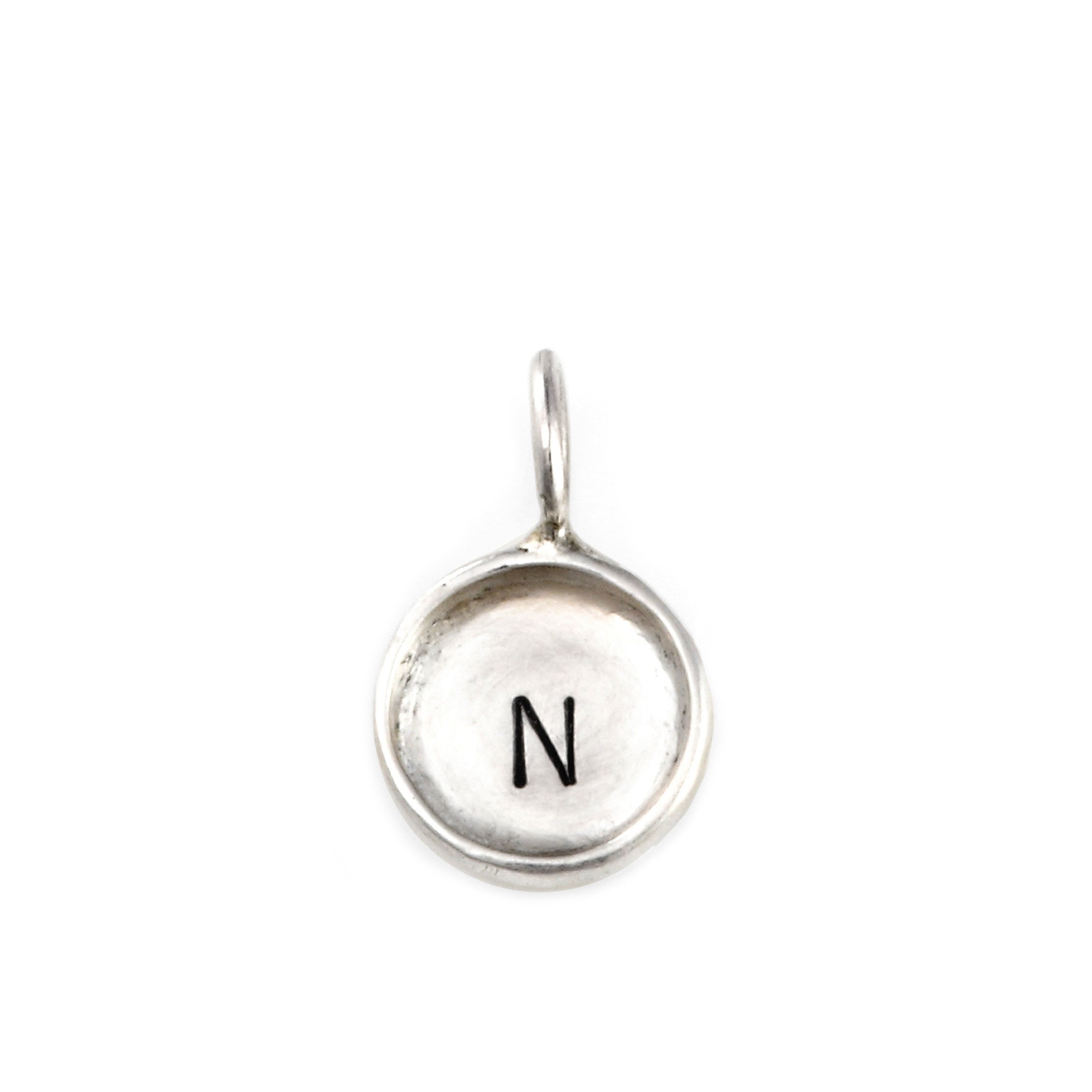 Hand stamped sterling silver pendant with rim initial charm tiny hand stamped sterling silver initial charm personalized jewelry jenny present aloadofball Images