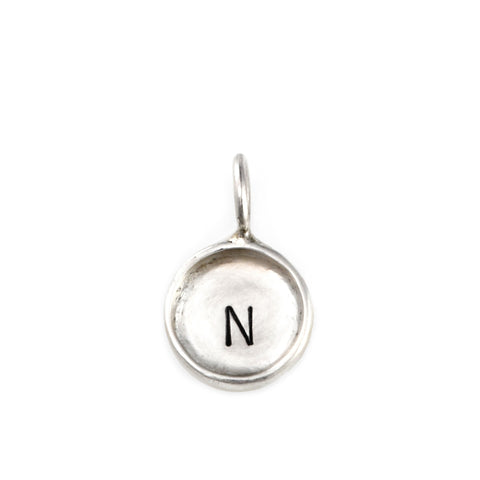 tiny hand stamped sterling silver initial charm, personalized jewelry, jenny present®