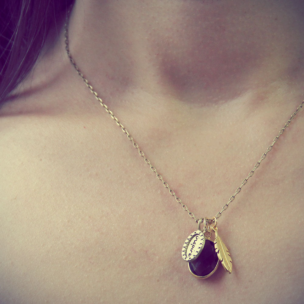 Gold Inspire Charm Necklace with Smoky Quartz
