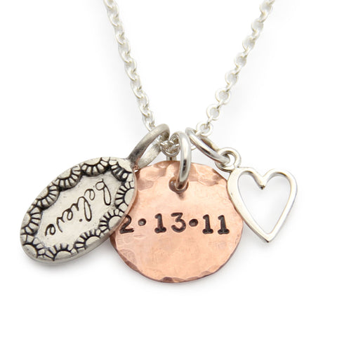 Silver Believe Hand Stamped Charm Necklace with heart, Proud Mama®, Inspirational Message Jewelry