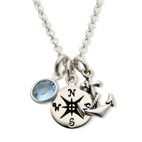 nautical jewelry, coordinates necklace, compass charm, anchor charm, prep jewelry