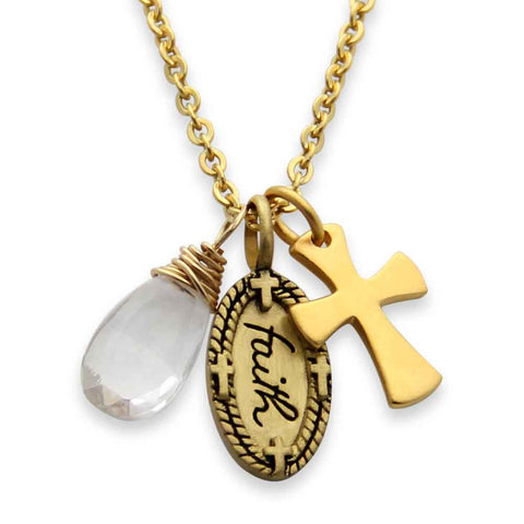 Gold Faith Charm Necklace with Gemstone, jenny present®