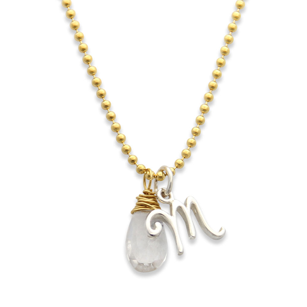 Initial charm necklace mixed metals handmade jenny present initial charm necklace with gemstone handmade jewelry aloadofball Images
