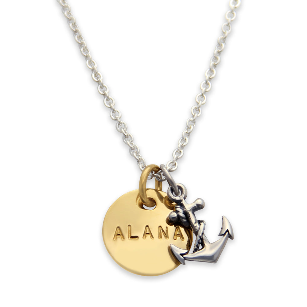 Mixed Metal Hand Stamped Anchor Charm Necklace, Personalized Proud Mama®