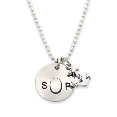 Silver Stamped Monogram Necklace with Anchor Charm, Personalized Charm Necklace, Proud Mama®