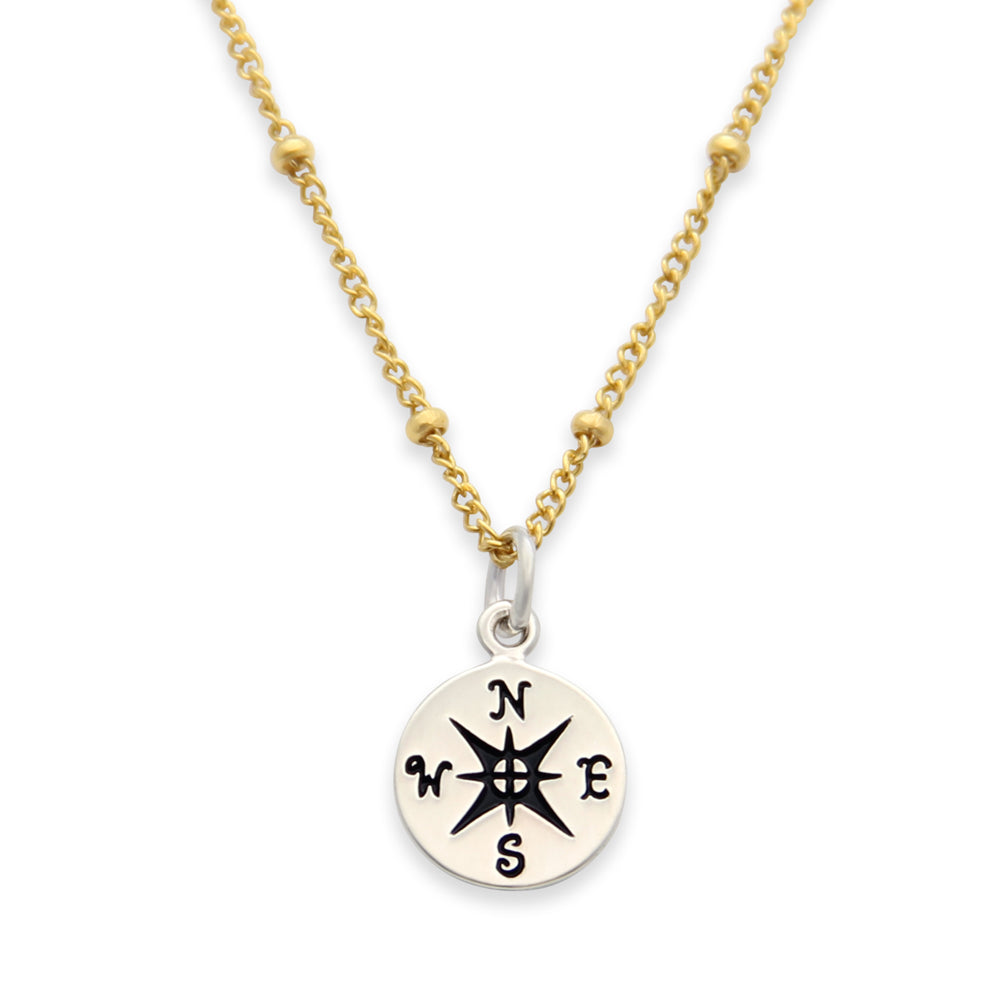 nautical jewelry, coordinates necklace, compass charm, gold and silver charm necklace