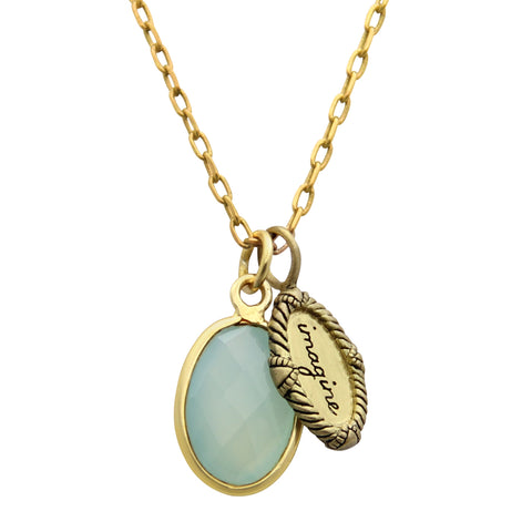 Gold Imagine Charm Necklace with Sea Green Chalcedony Gem, handmade designer jewelry, jenny present®
