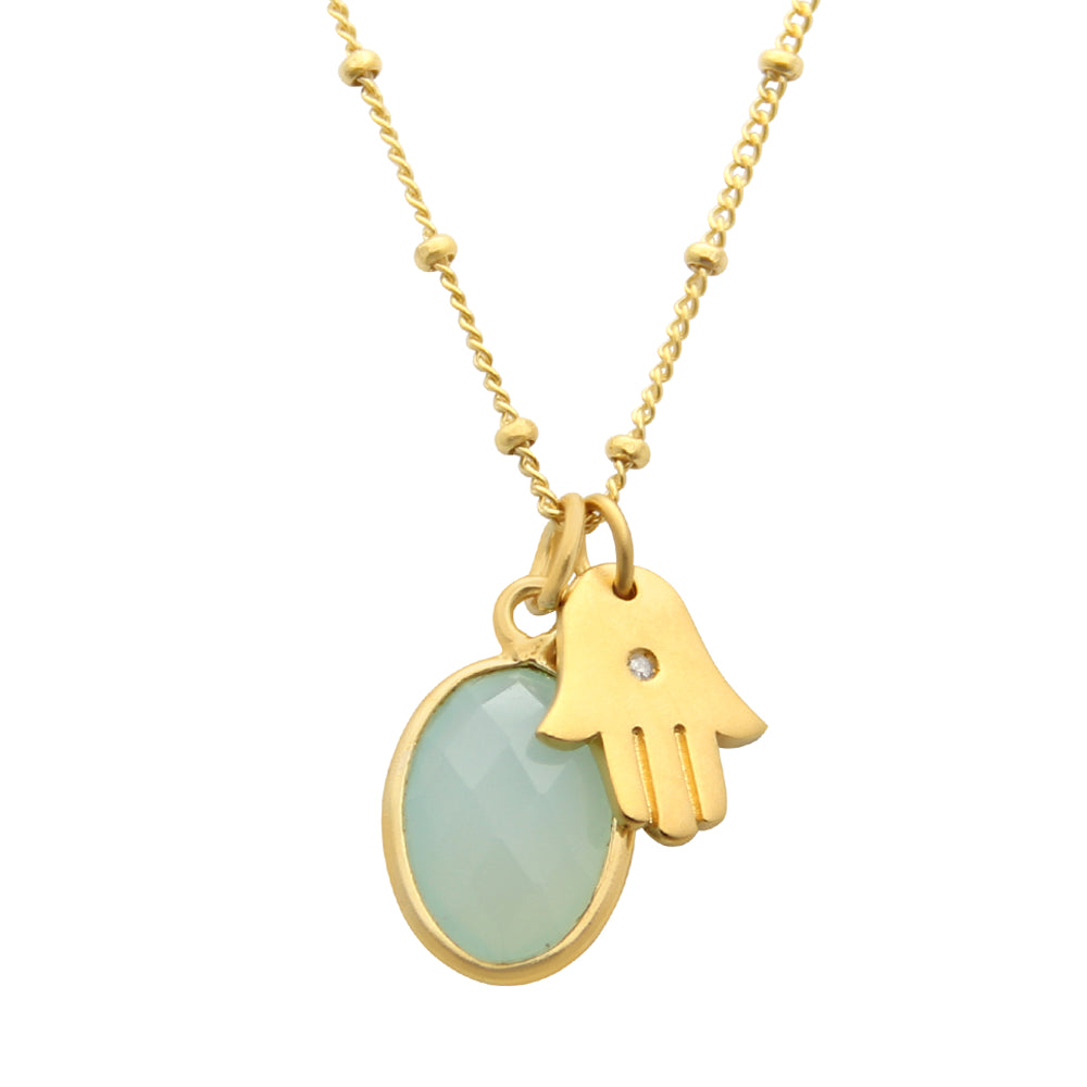 Gold Hamsa Charm Necklace with Sea Green Chalcedony, jenny present®, yogi jewelry
