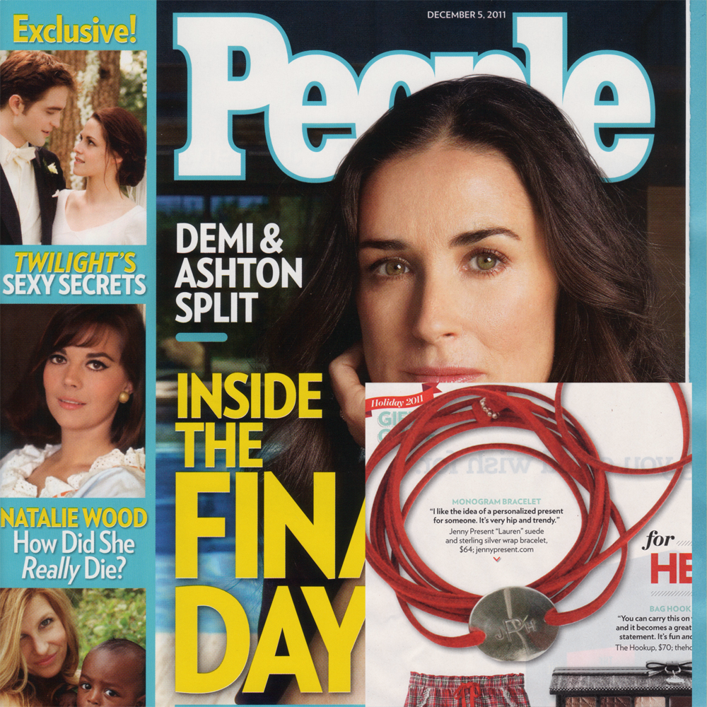 jenny present® suede wrap bracelet as seen in People Magazine, hand stamped