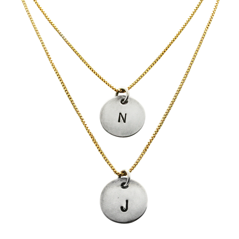 tiffany initial necklace, gold and silver hand stamped personalized initial necklace, jenny present®