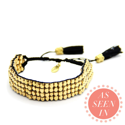 gold and black handmade beaded macrame tassel bracelet, friendship bracelet, jenny present®