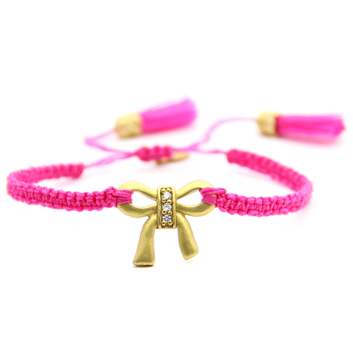 pink and gold macrame adjustable tassel bracelet, friendship bracelet, jenny present®