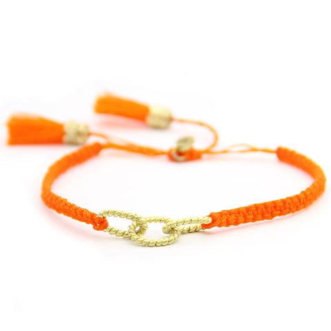 link macrame tassel bracelet, adjustable, orange friendship bracelet, jenny present®