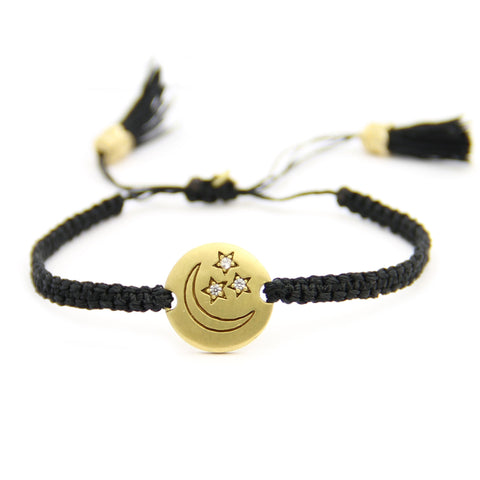 Moon And Stars Macrame Tassel Bracelet, Adjustable