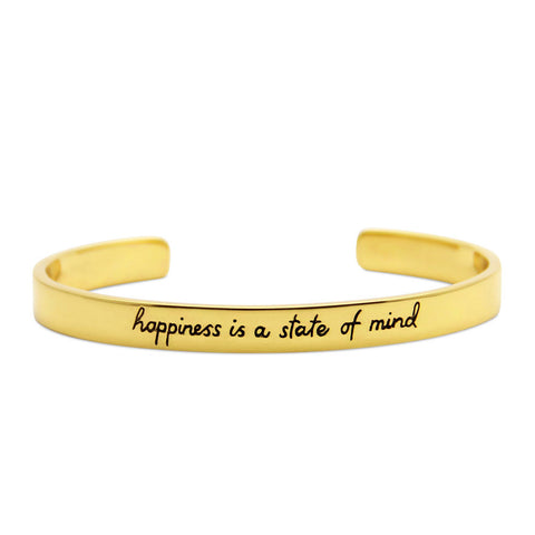 gold cuff bracelet, happiness is a state of mind, motivational jewelry by jenny present®
