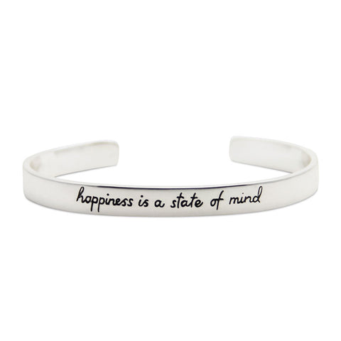 happiness is a state of mind, silver motivational cuff bracelet, LifeNotes® collection by jenny present®