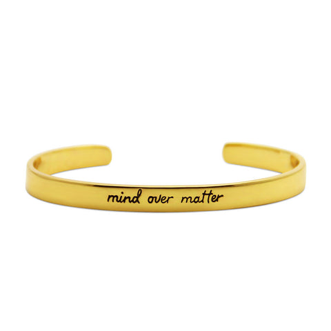 mind over matter, gold motivational cuff bracelet, jenny present®
