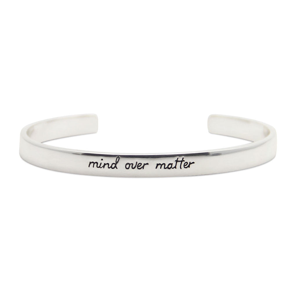 mind over matter, silver motivational cuff bracelet, LifeNotes® collection by jenny present®