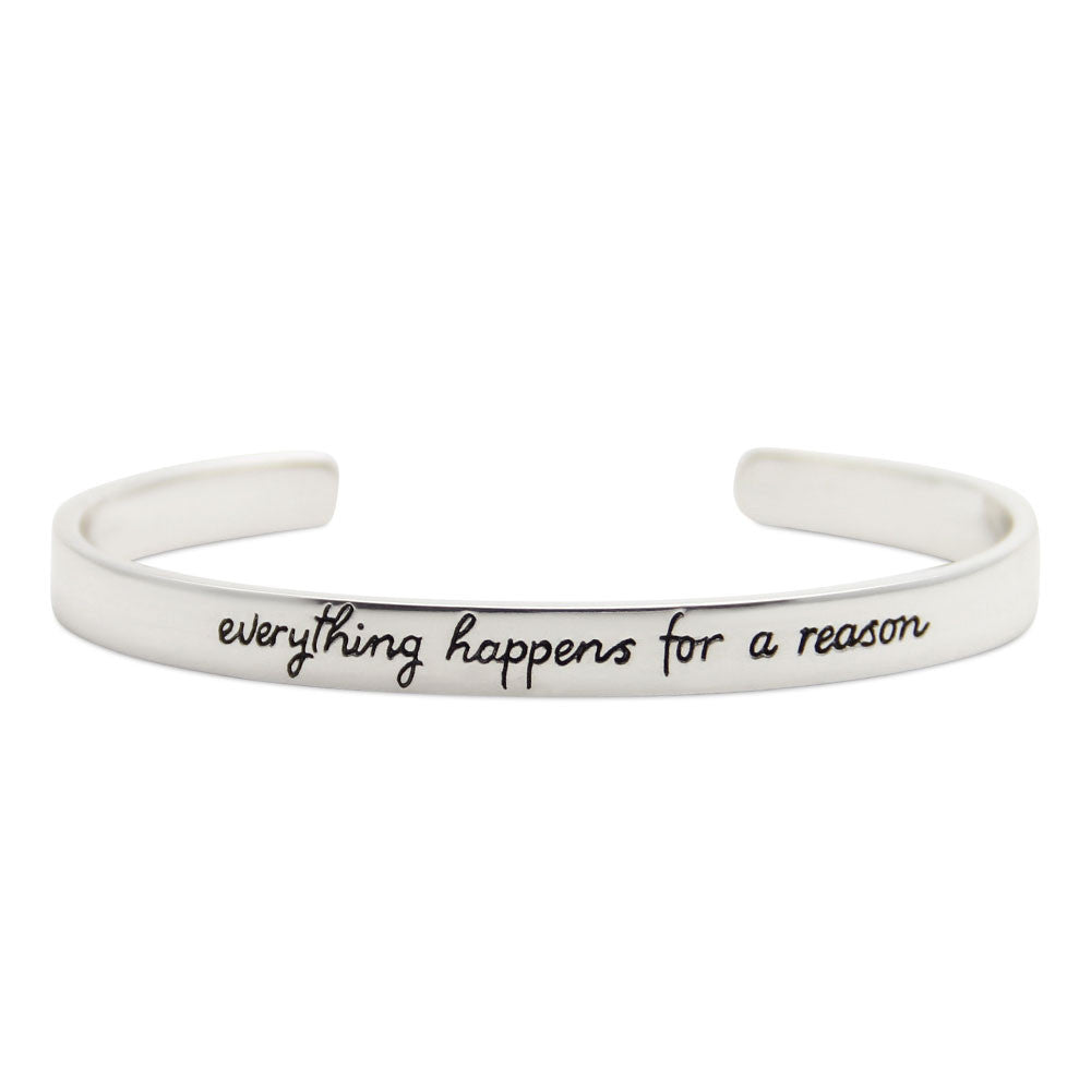 silver motivational cuff bracelet, everything happens for a reason, LifeNotes® message jewelry by jenny present®